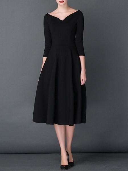 53562532bd0 Vintage 3 4 Sleeve A-line Shirred V neck Midi Dress
