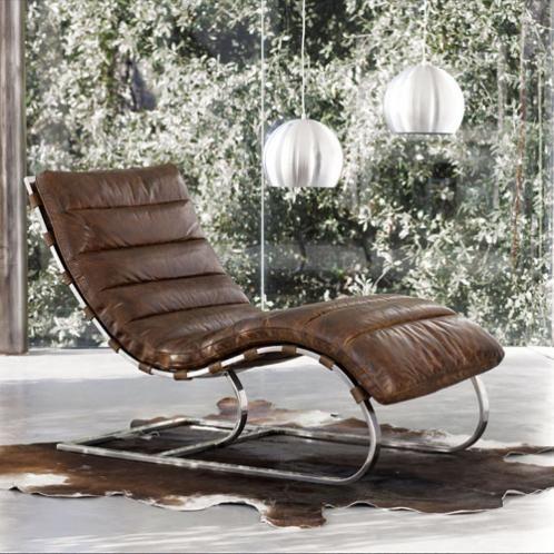 Chaise Longue Freud Fauteuil En Cuir Marron Chaise Longue Chaise