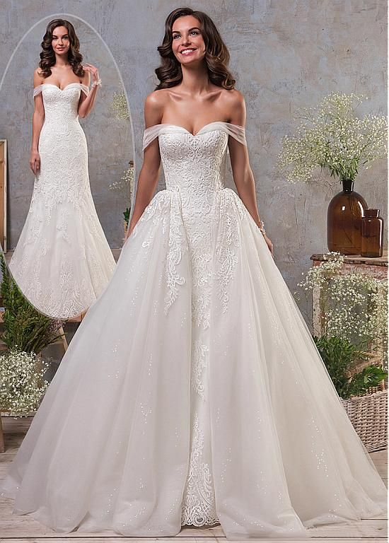 d1ab09dbd28 Stunning Tulle Off-the-shoulder Neckline 2 In 1 Wedding Dress With Lace  Appliques   Detachable Skirt