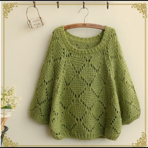 بلوزات قصيرة مخرمة معينات Pullover Sweaters Fashion