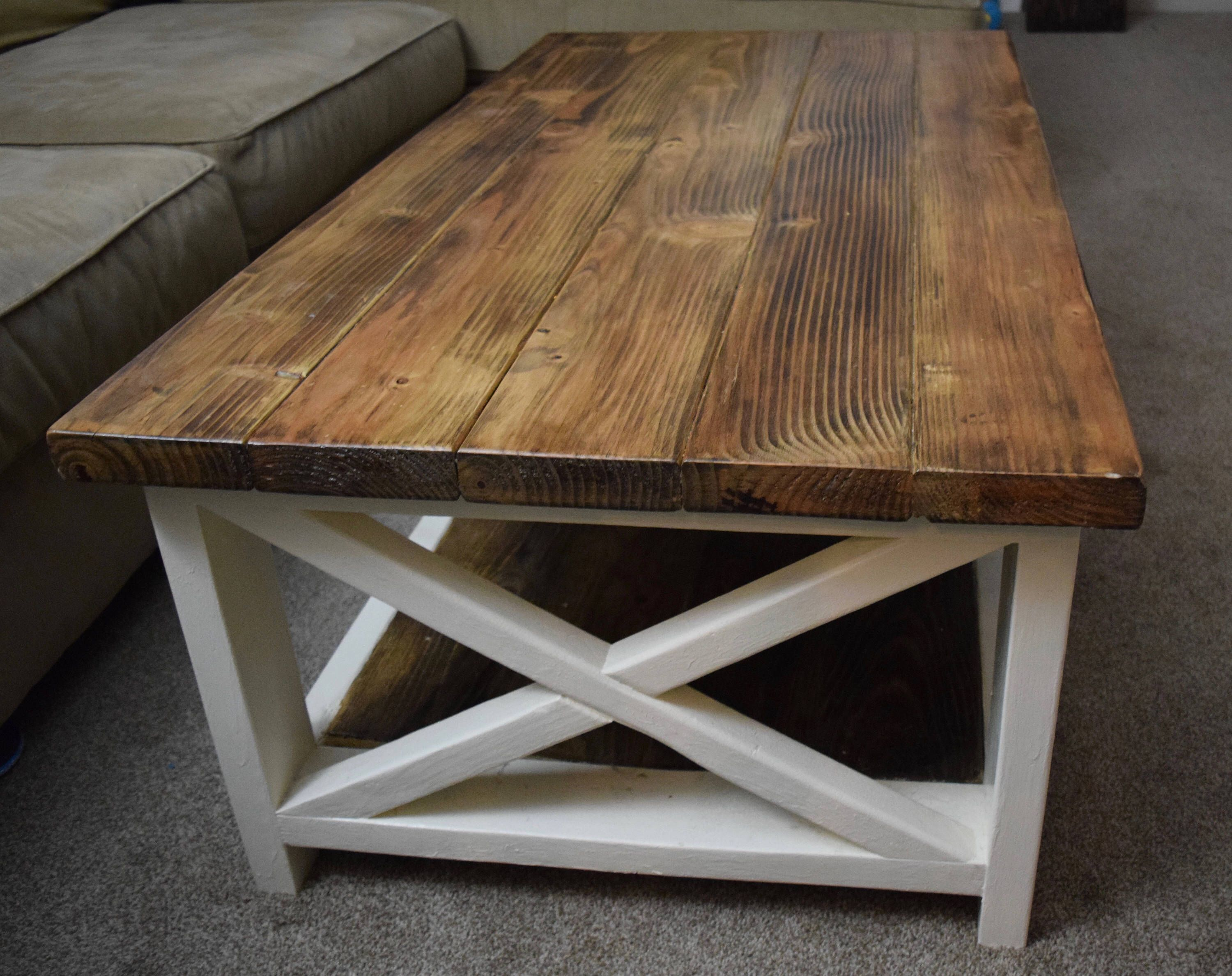 wooden coffee table farmhouse table