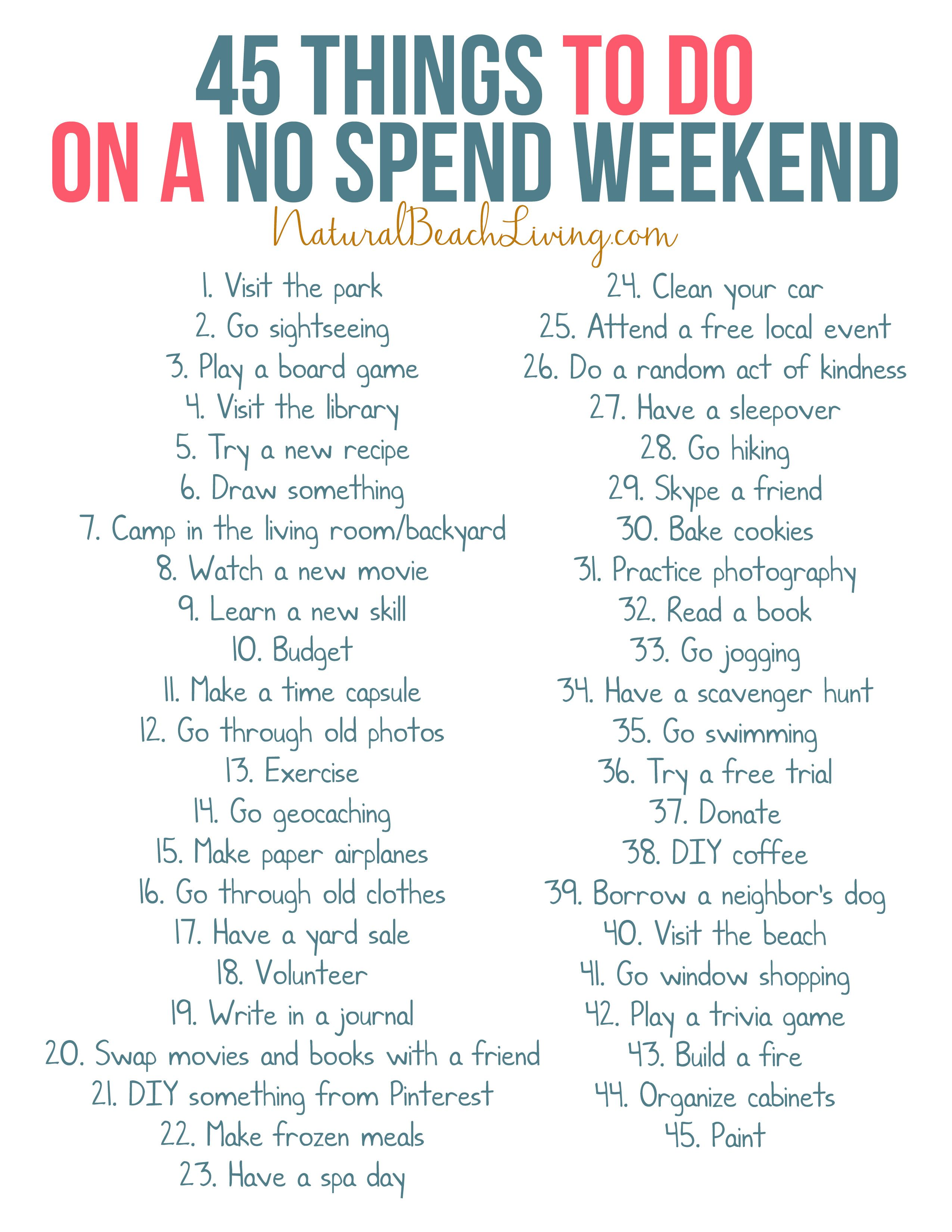 Things to do on a saturday