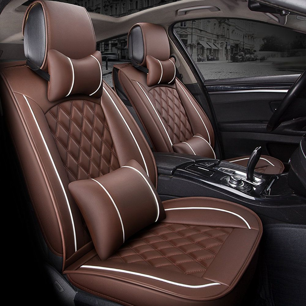 Leather Car Full Surround Seat Cover Cushion Protector Set Universal For 5 Seats Car Leather Car Seat Covers Leather Car Seats Car Seats