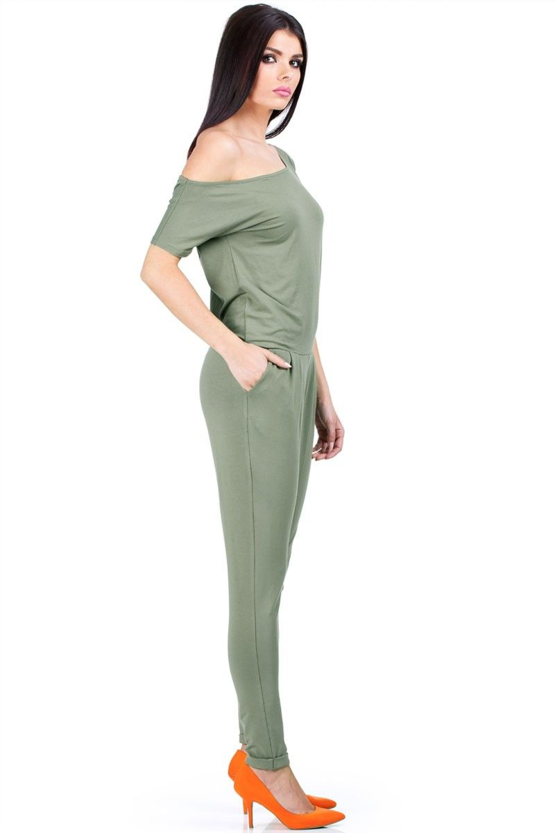 Combinaison pantalon, manches courtes, kaki   Les nouveautés ... 0a764a779338