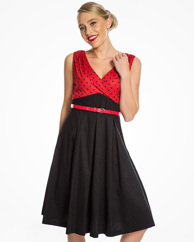 9ac92a683cb76 Valerie' Flattering Black and Red Polka Dot Rockabilly Swing Dress ...