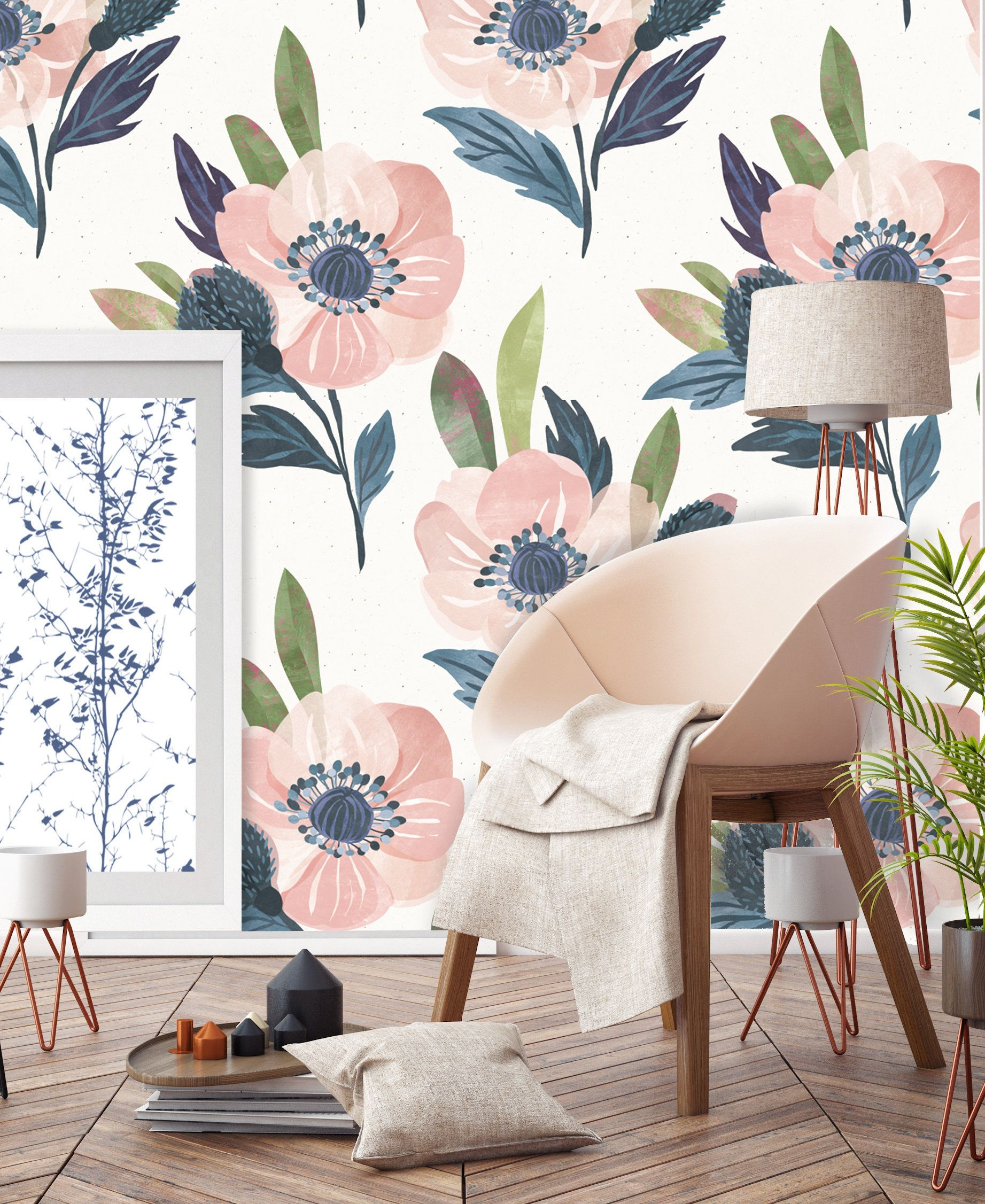 Blush Pink Fl Garden Wallpaper Flowers Self Adhesive Fabric Removable Repositionable R0046