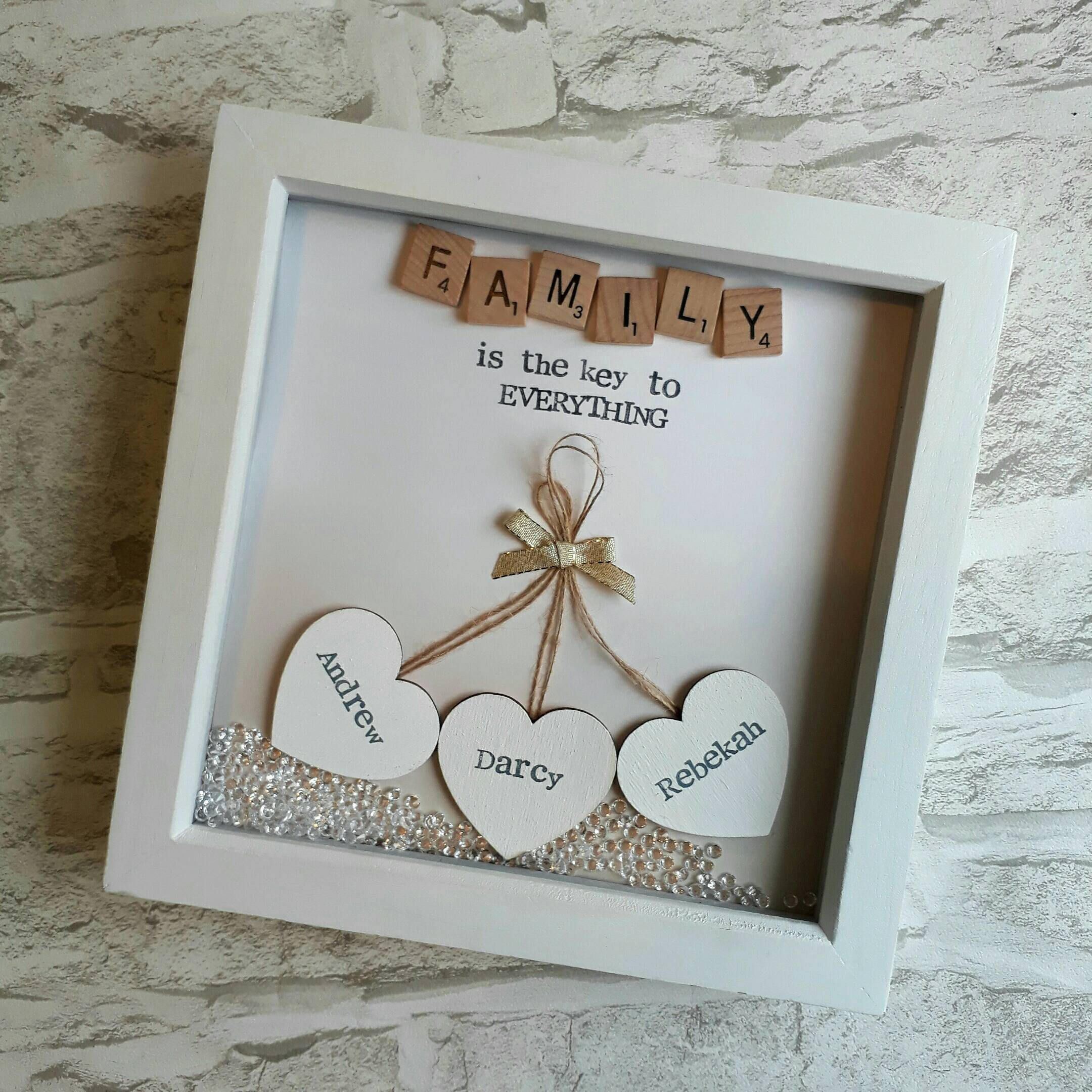 Personalised Family Scrabble box Frames mothers day weddings brithday ect