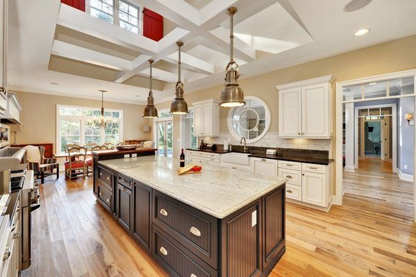Kitchen with island large designs ideas interior design best free home idea  inspiration also kashmir white granite countertops dark wood cabinets pendant rh pinterest