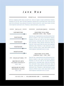 Light Blue Minimal Resume Template  Microsoft Word Creative