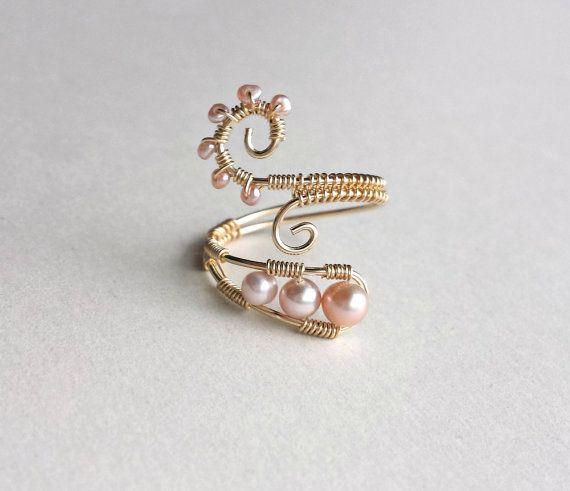 Rosa Perle Drahtring Rosa Gold Ring Draht gewickelt Ring ...