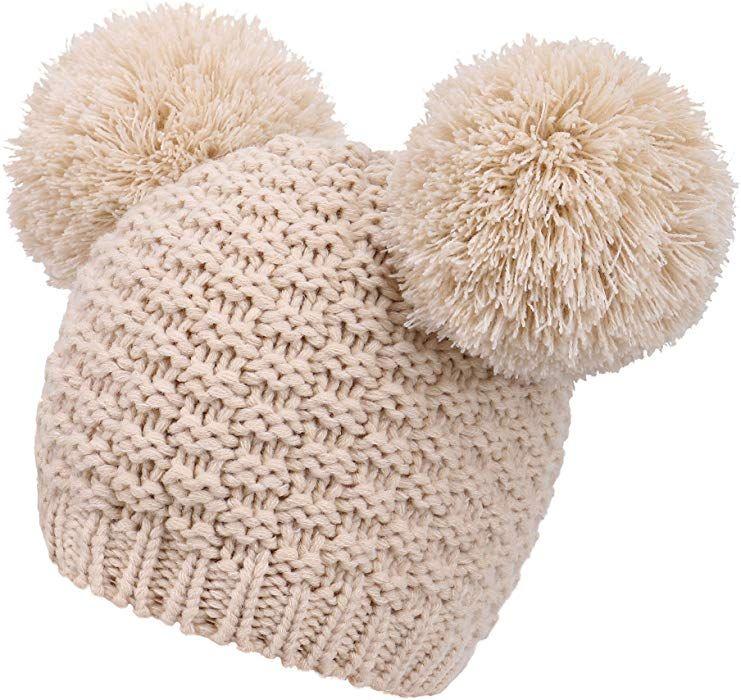 3232d53037b Women s Winter Chunky Knit Double Pom Pom Beanie Hat