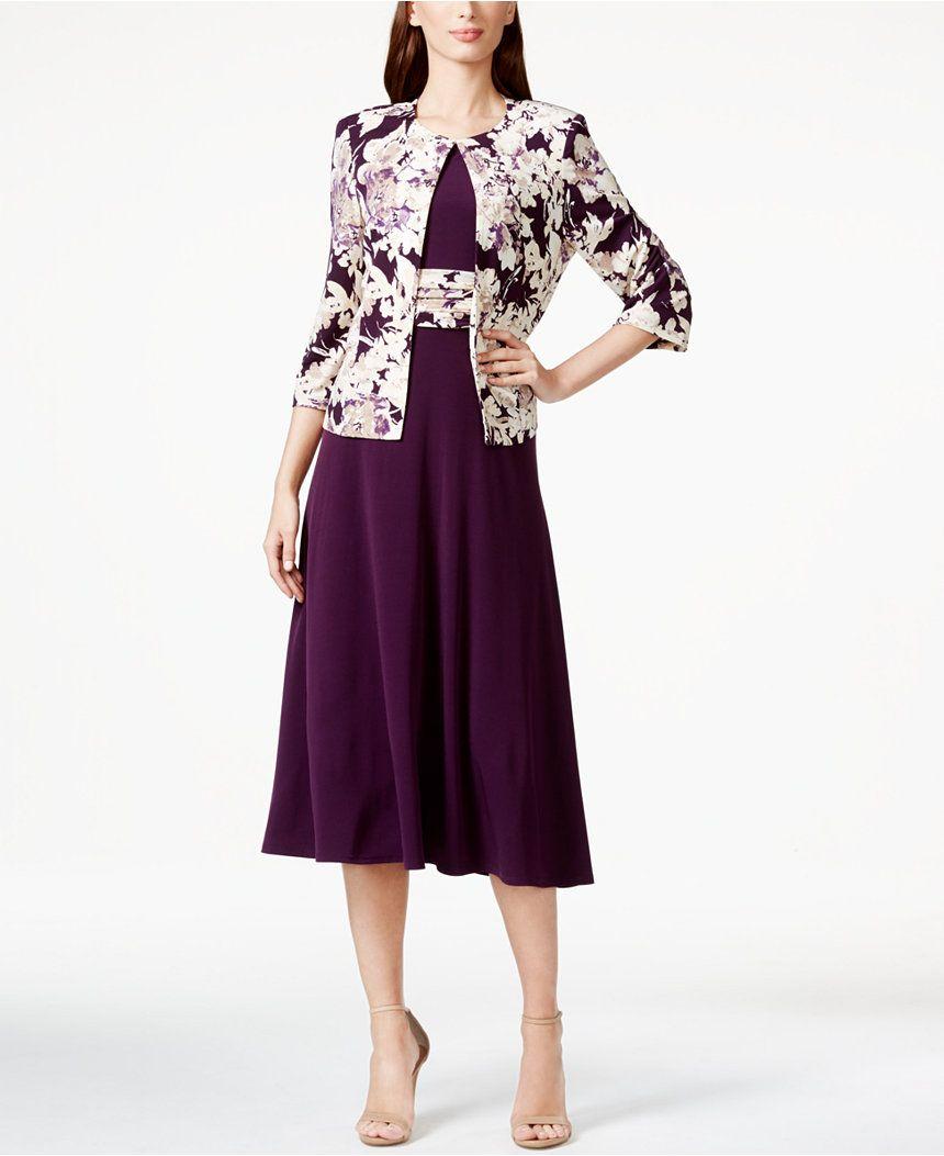 68b32ef6dc Jessica Howard Floral-Print Tea-Length Jacket and Dress - Dresses - Women -  Macy s
