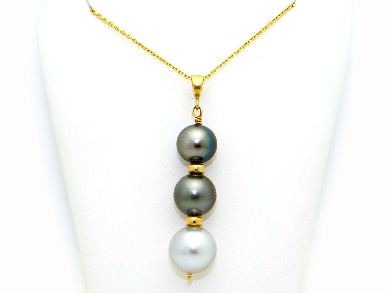14k Yellow Gold Black Gray Tahitian South Sea 12mm Pearl Pendant ...
