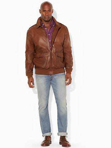 Ralph Lauren tall leather bomber jacket #mensfashion | Men\'s Tall ...