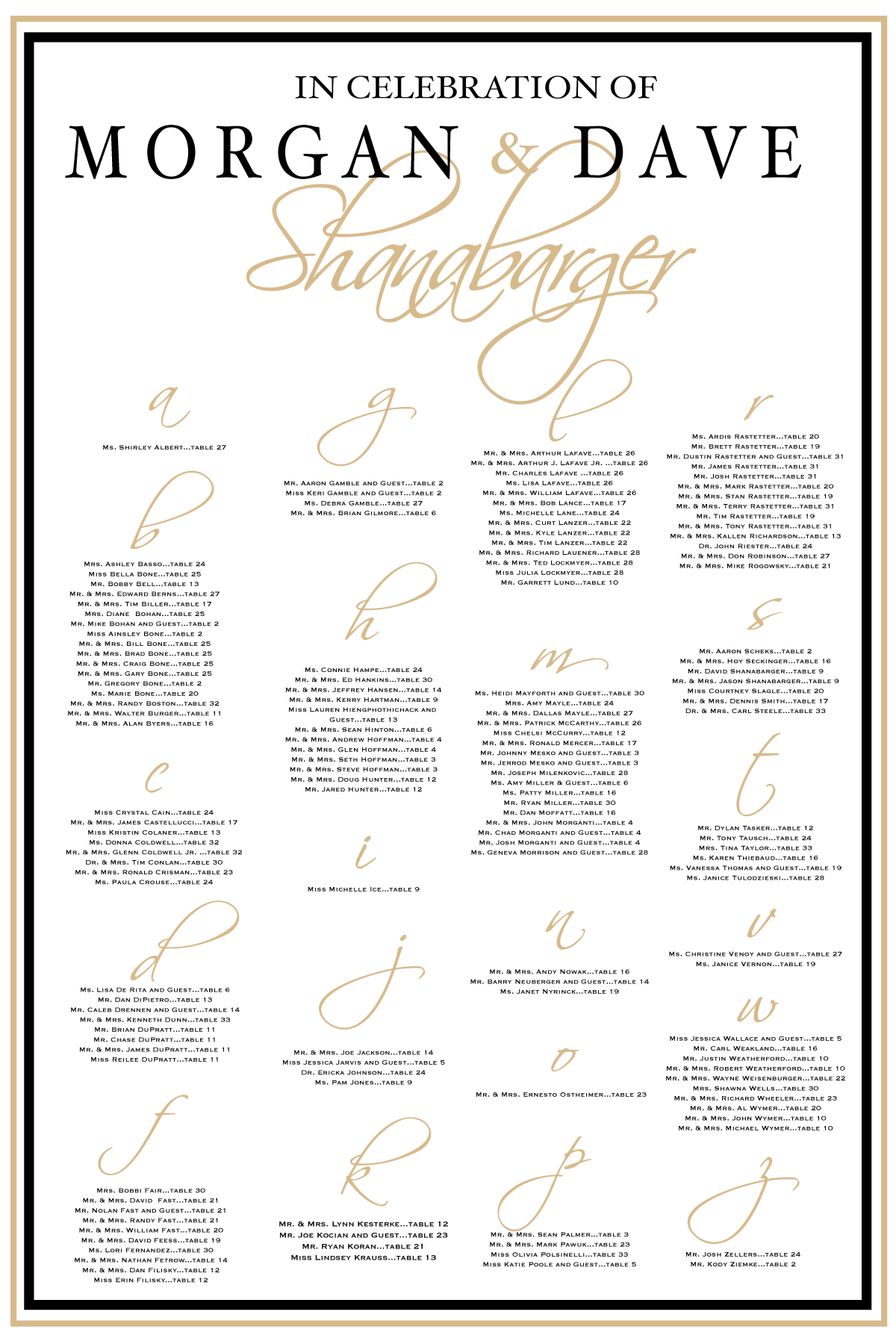 Gold And Black Elegant Wedding Seating Chart By Charming Paper Shop