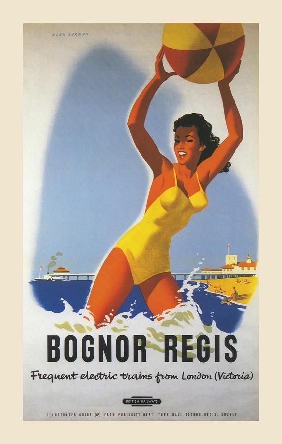 Bognor Regis Framed Vintage Railway Poster On Canvas Travel Posters Railway Posters Vintage Travel Posters