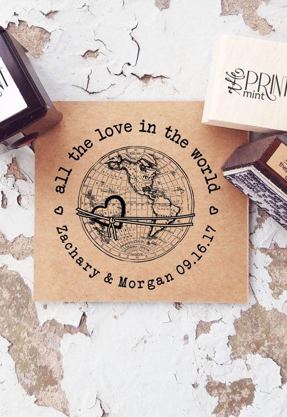 Travel Wedding Stamp Globe Rubber Stamp Custom by ThePrintMint