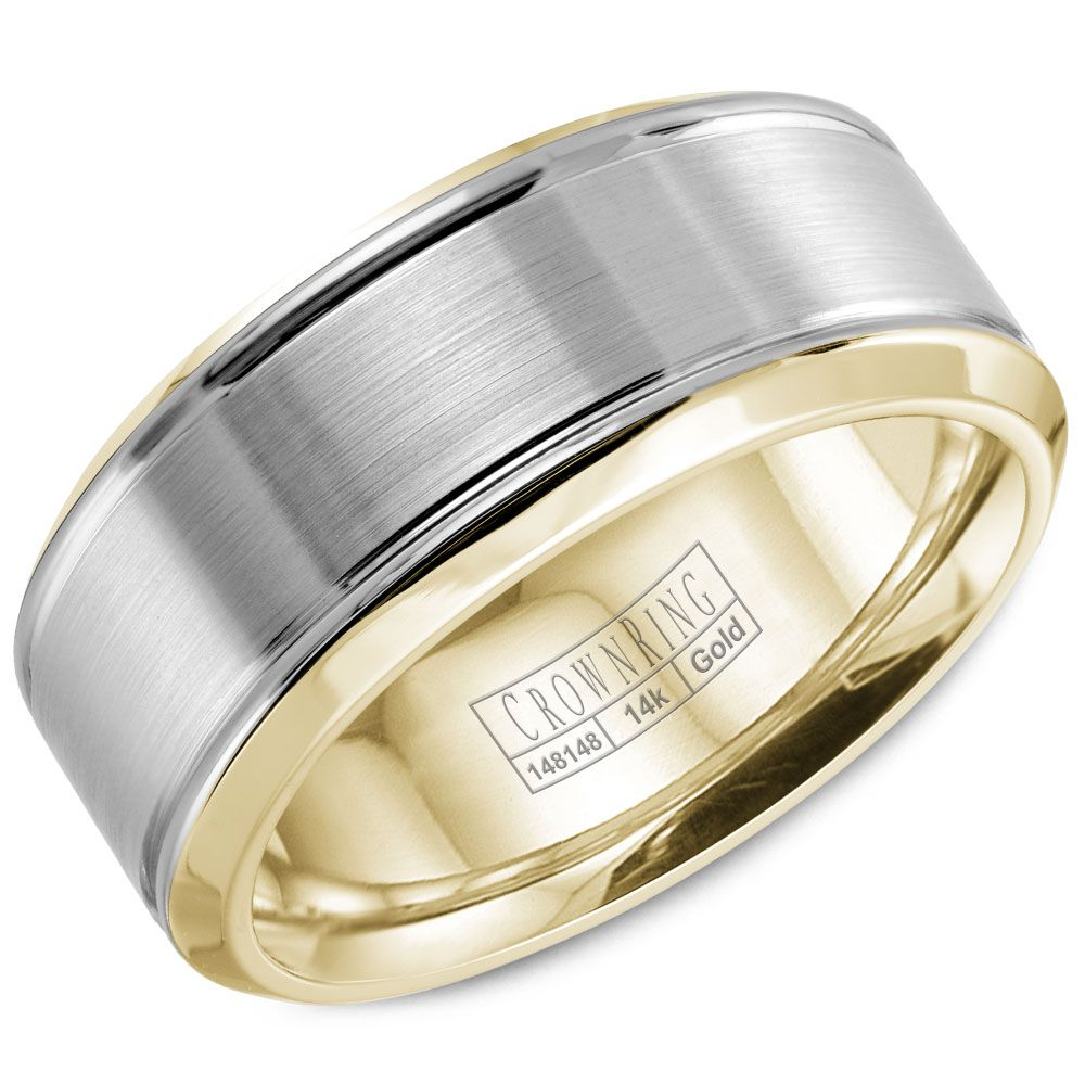 Crown Ring 8mm 14k Two Tone WB 9937 Mens Wedding