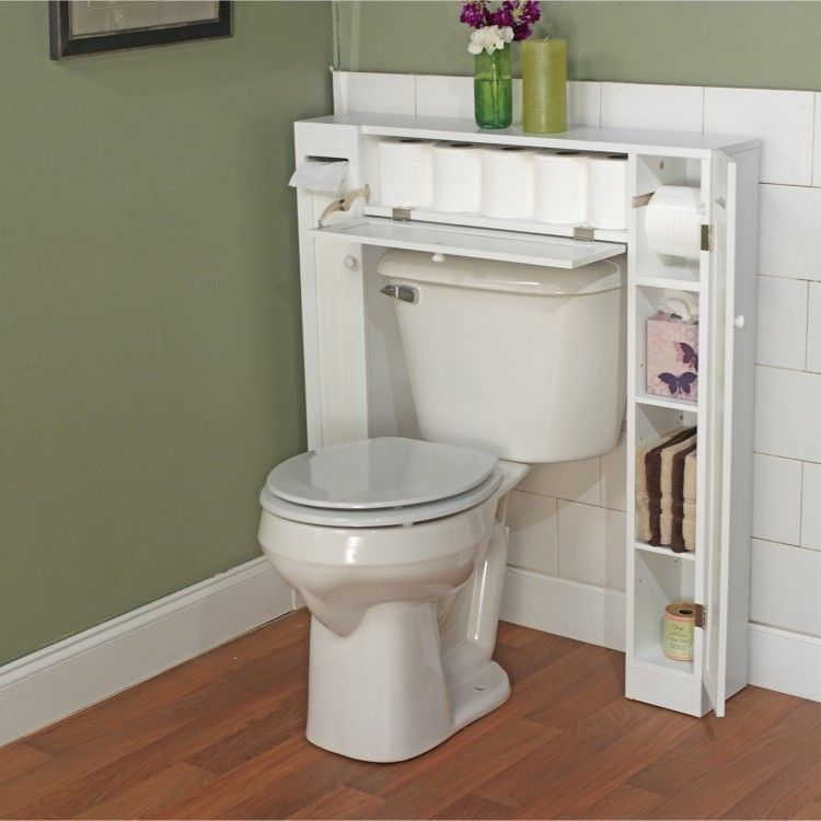 White Over Toilet Bathroom Cabinet Wood Storage Space Saver Paper