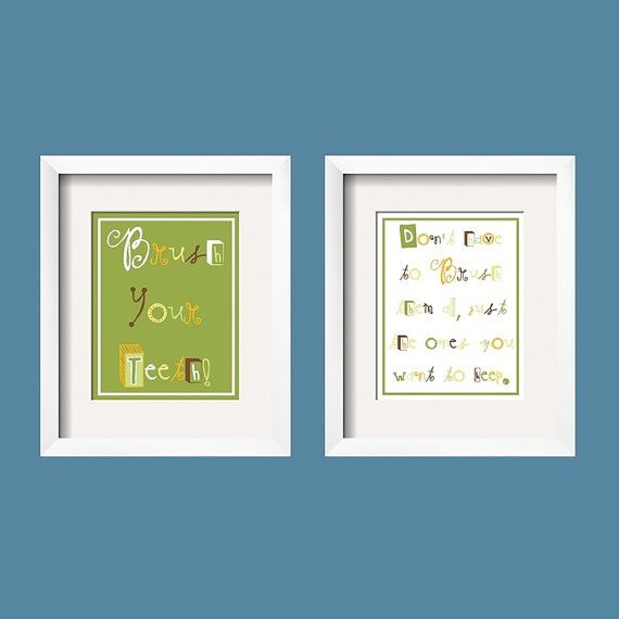Brush Your Teeth Bathroom Decor -Duo, Print set of 2, Green Brown, Choose your colors