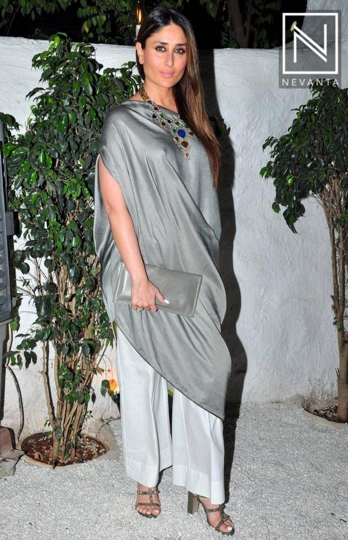 0d55ecd57924  KareenaKapoor wore  Payalkhandwala s grey  kurti over white pants at Ki  And Ka success bash