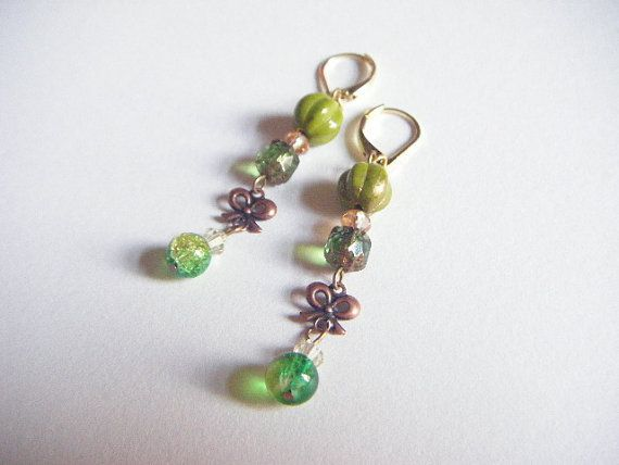 Spring green earrings with ribbon parts green by Coloramelody