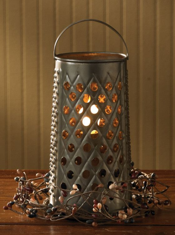 Rustic Farmhouse Home Decor Metal Grater Candle Holder
