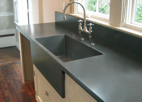 Custom Kitchen Concrete Farms Sink Cast Into The Countertop. #Concrete # Countertops  Trueform Concrete Custom Work