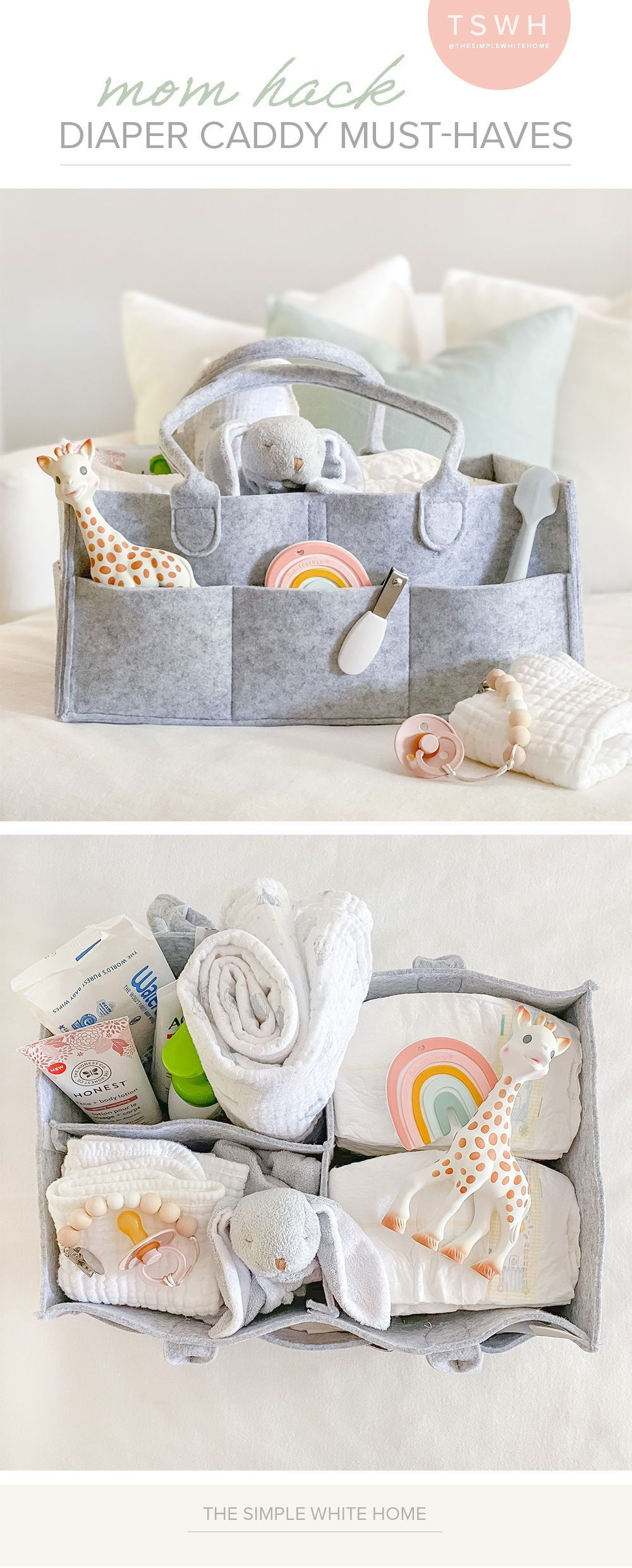 One of my favorite Mom tips is to create a diaper caddies for different rooms of your home. I have one in my living room and I also kept one in our bedroom when out girl was little. Stock it with all the item you use most and it will save you so many trips running around the house. Check out my list of favs!