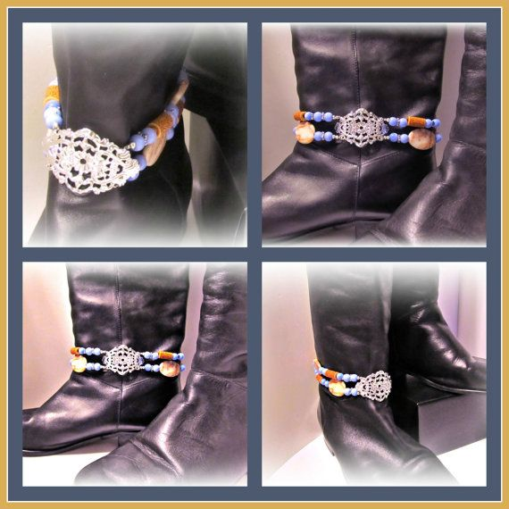 Spruce Up Your Boots!  Blue Cat's Eye Beaded Boot Bracelet w Silverplated Filigree by RomanticThoughts, $30.00