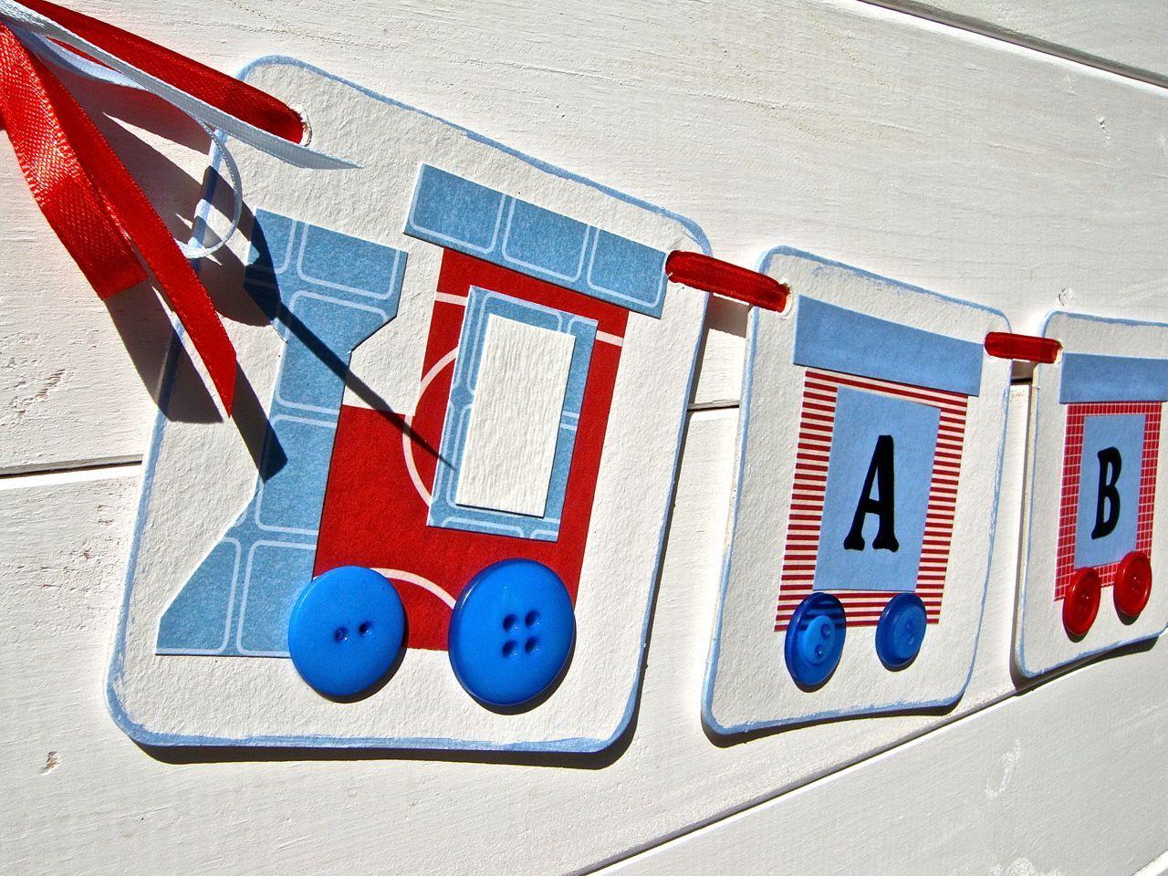 Train Baby Shower Banner, Train Garland, New Baby Boy, ABC Banner ...