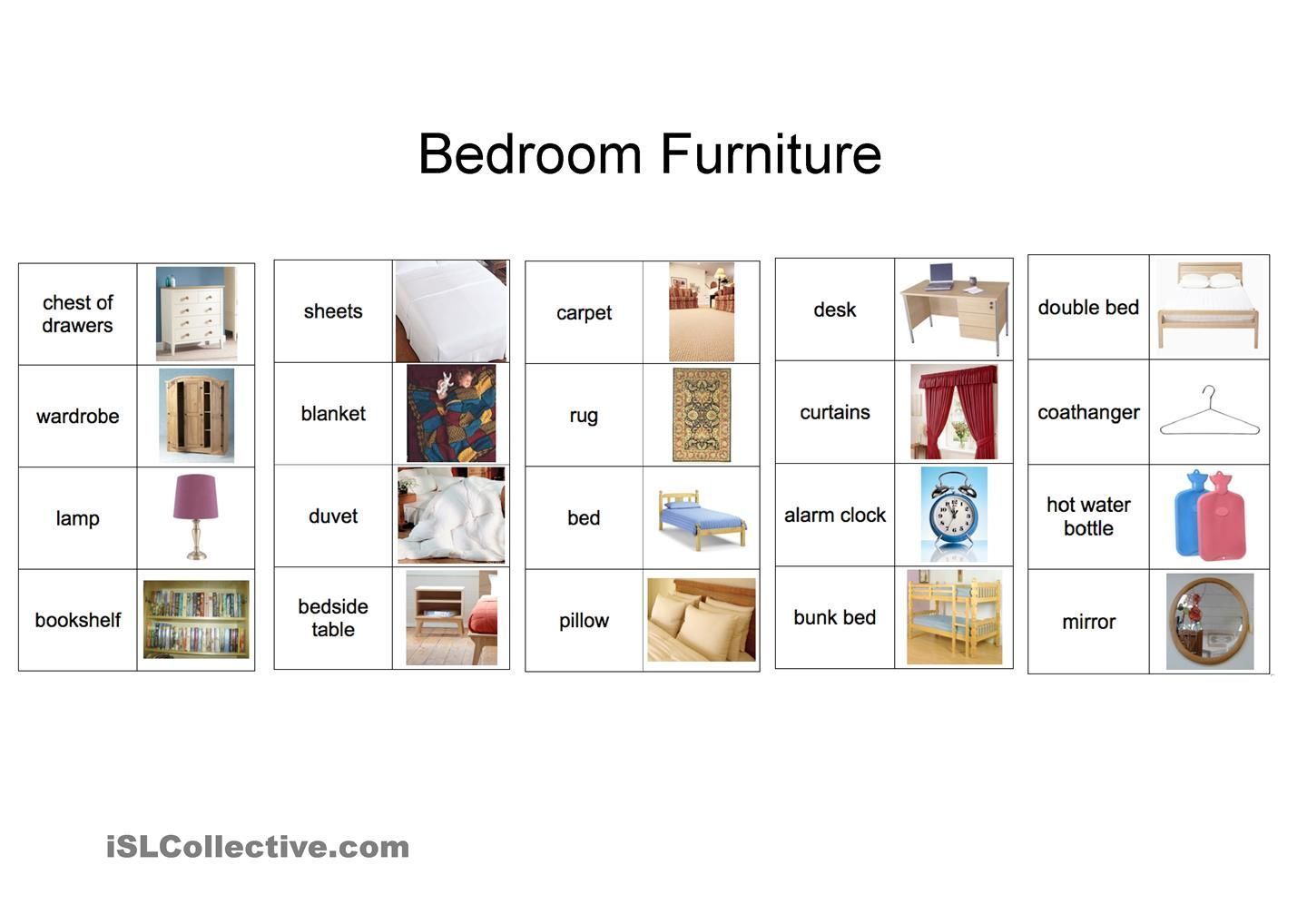 Bedroom Vocabulary Bedroomfurniturevocabulary
