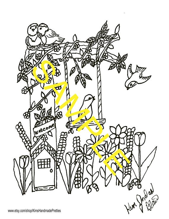 Birds And A Fairy House Pencil SketchingFairy HousesFairies GardenColoring Pages