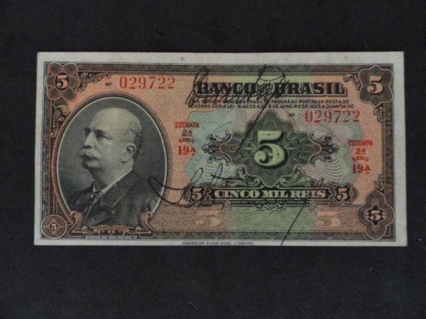 Brasil - Cédula de 5 Mil Réis de 1930 - 19ª série Muit..