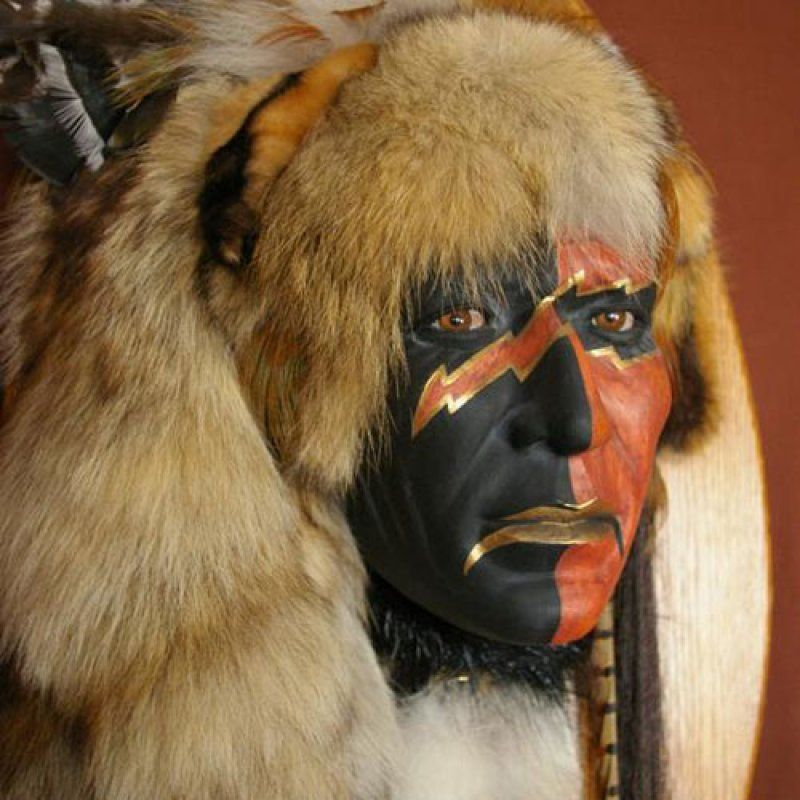 Large Spirit Masks - Native American Masks, Native Wall Art, Hand Painted Masks, Western Wall Art, Indian Masks | Black Arrow - Black Arrow Indian Art