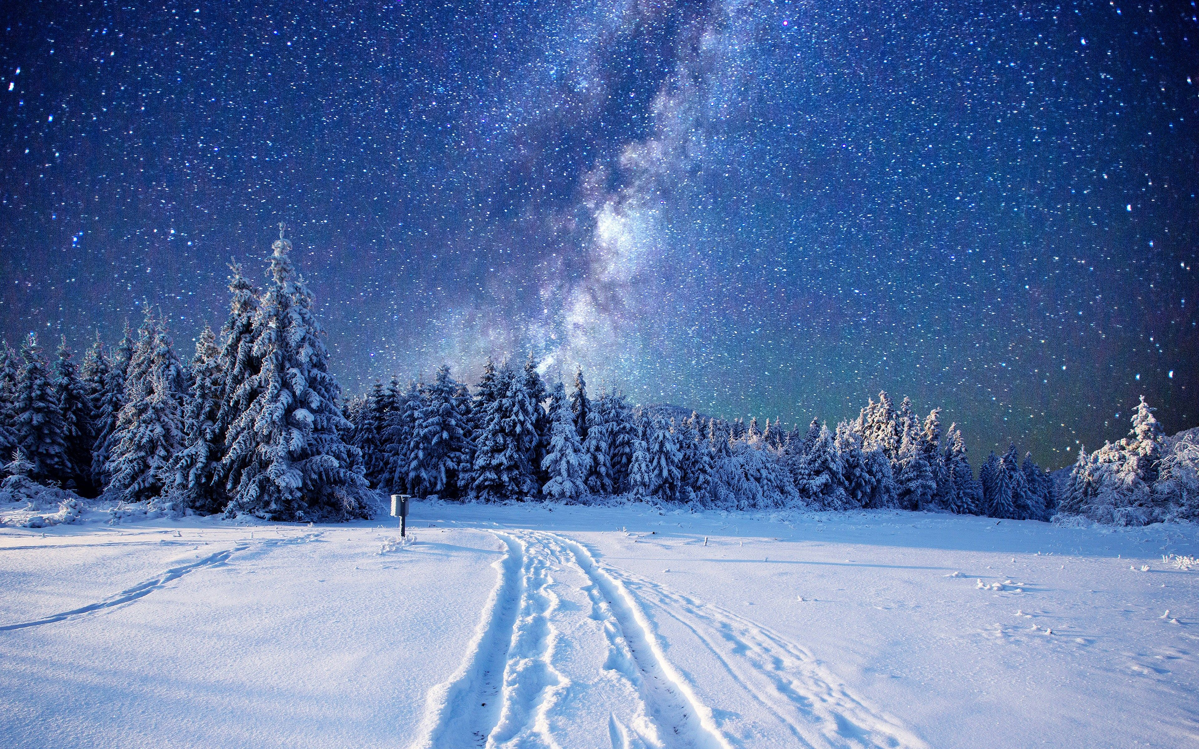 Winter 4k Wallpaper 3840x2400 In 2020 With Images Night Landscape Winter Sky Snow Night