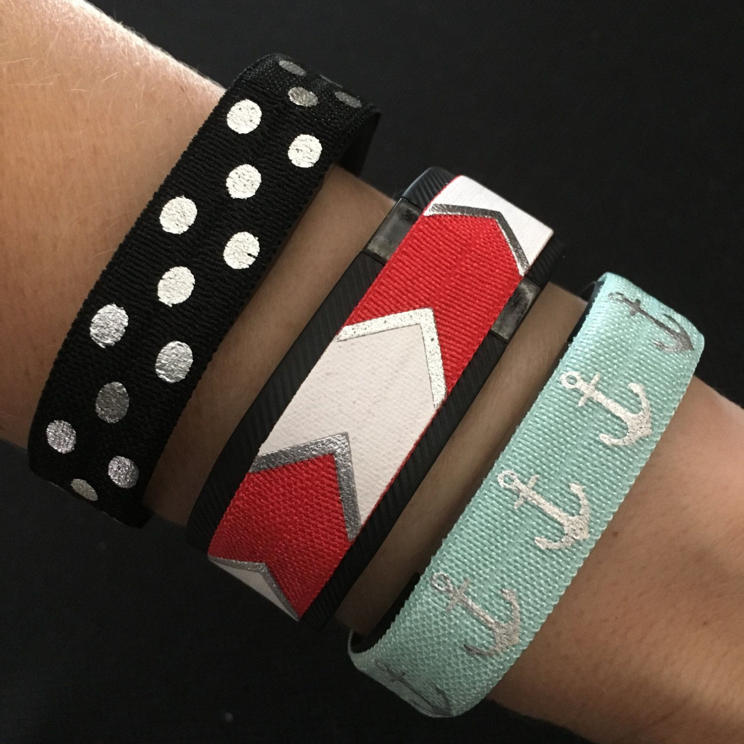 Anchor Fitbit Cover. Fitbit Alta, Flex, Flex 2, Charge & ChargeHR Elastic Bands, Set/3: Black/Lg Silv Dots (PD21), Red/Silv BC (BC30), Aqua/Silver Anchors (AN12) by BananaWindDesign on Etsy