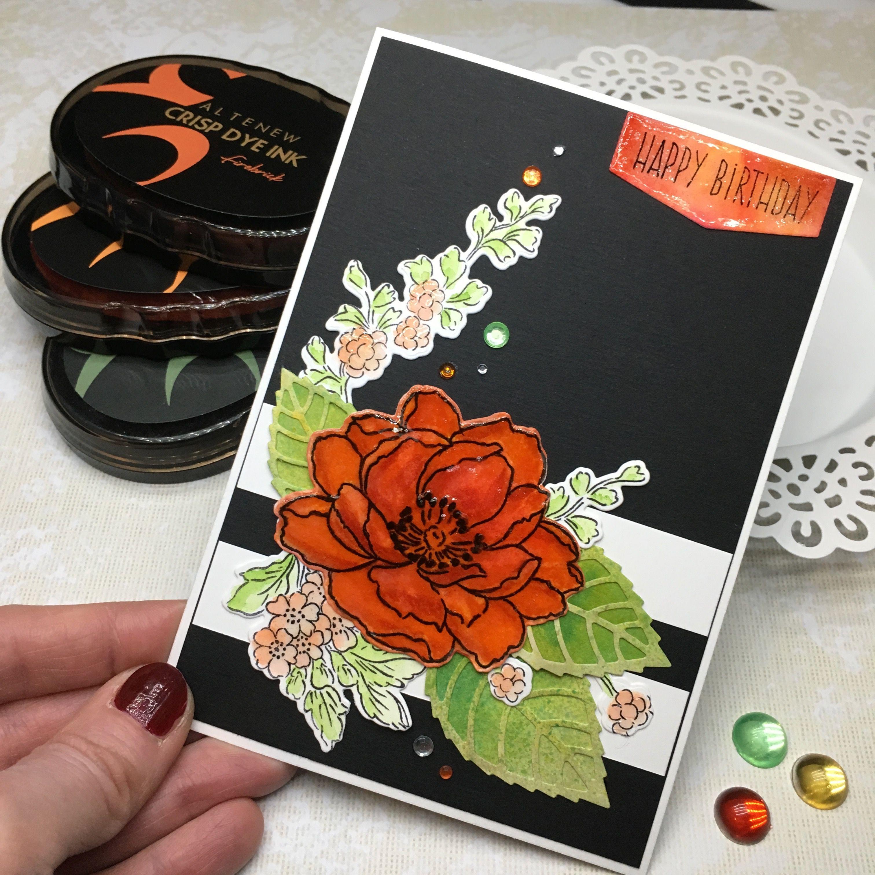 birthday card altenew black background  birthday cards