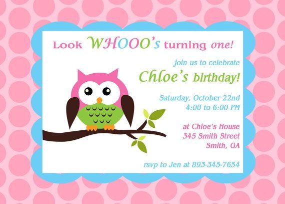 Printable owl theme birthday party invitation party invitations printable owl theme birthday party invitation solutioingenieria Choice Image