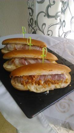 recette Hot dog bacon mozzarella saucisse enlardé