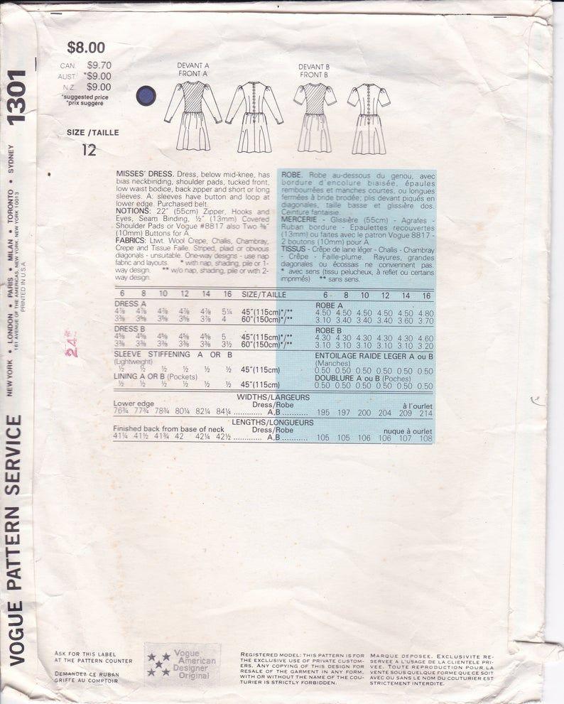 Sewing Pattern Vogue 1301 Designer Albert Nipon Drop Waist Dress