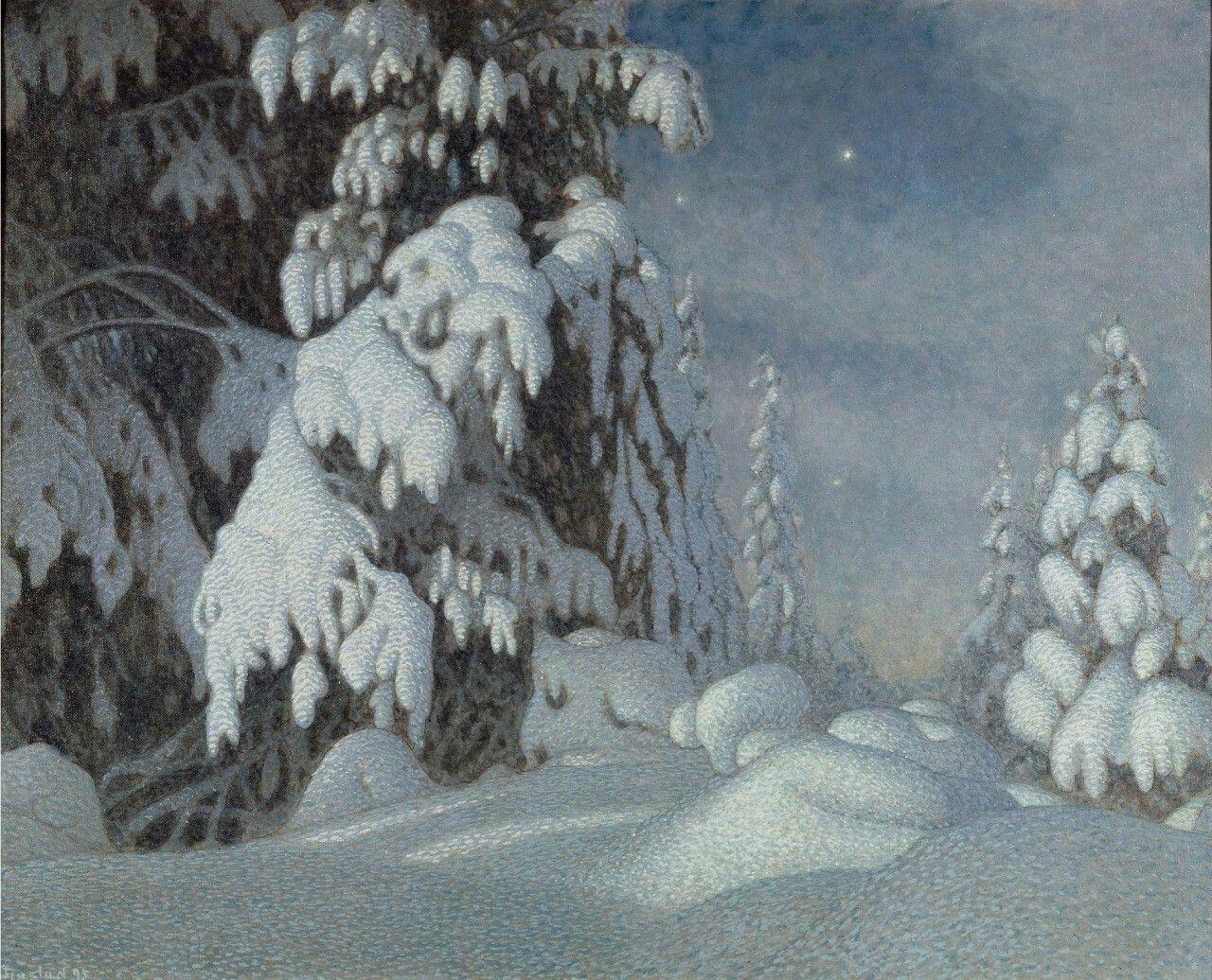 Gustaf Fjæstad (Swedish, 1868-1948), Winter Moonlight, 1895. Oil on canvas. Nationalmuseum, Stockholm.