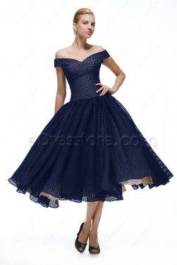 Tea Length Navy Blue Prom Dresses