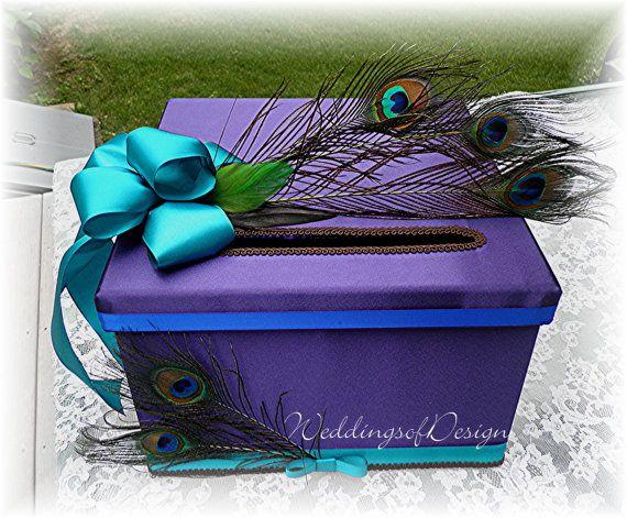 Wedding CARD BOX Money Card Box PEACOCK Feathers Customize Your