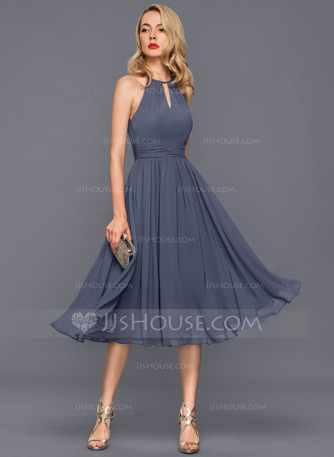 JJsHouse A-Line Scoop Neck Knee-Length Chiffon Cocktail Dress With