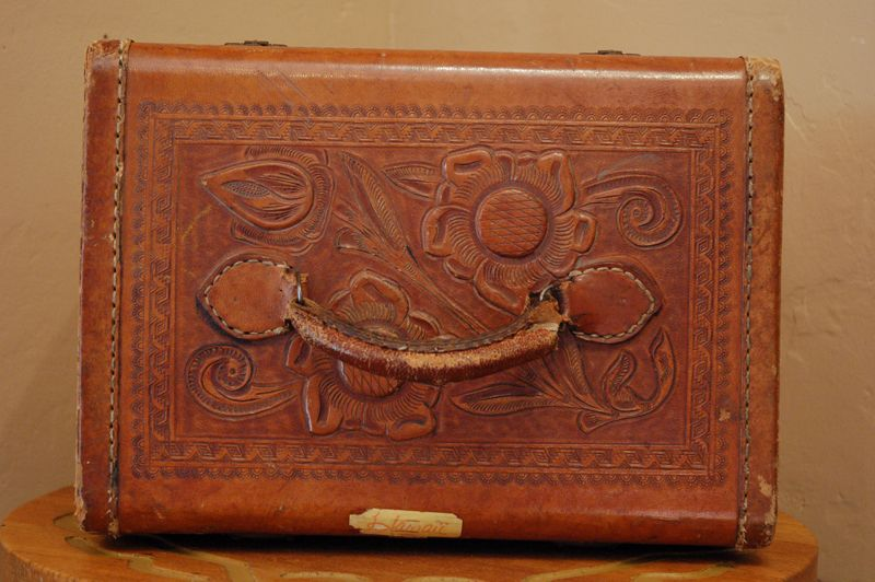 Vintage tooled leather train case