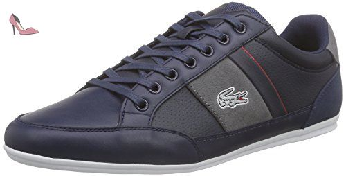 Lacoste Hommes Marine/Light Gris Chaymon 216 Cuir Basket-UK 10 - Chaussures  lacoste