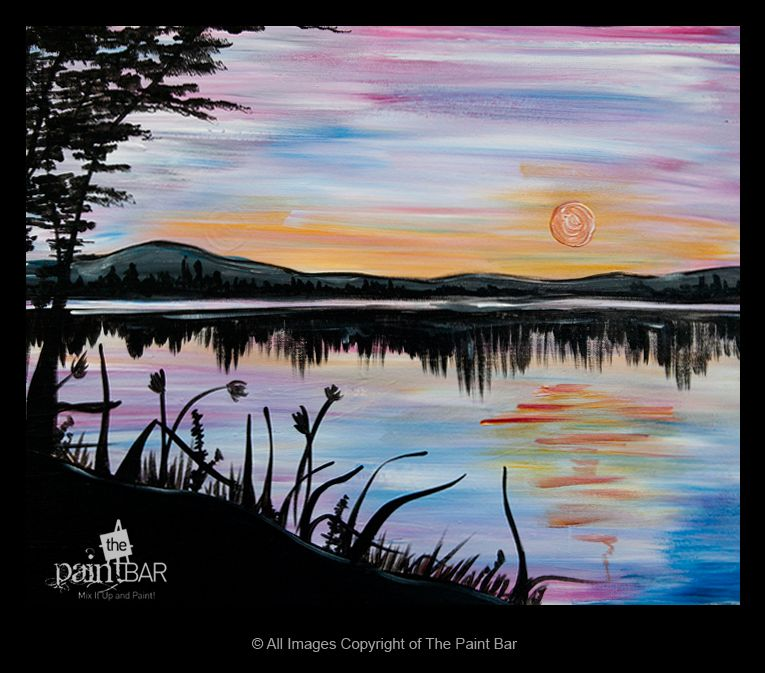 The Paint Bar Mix It Up And Paint Moonlight Painting Online Painting Landscape Paintings