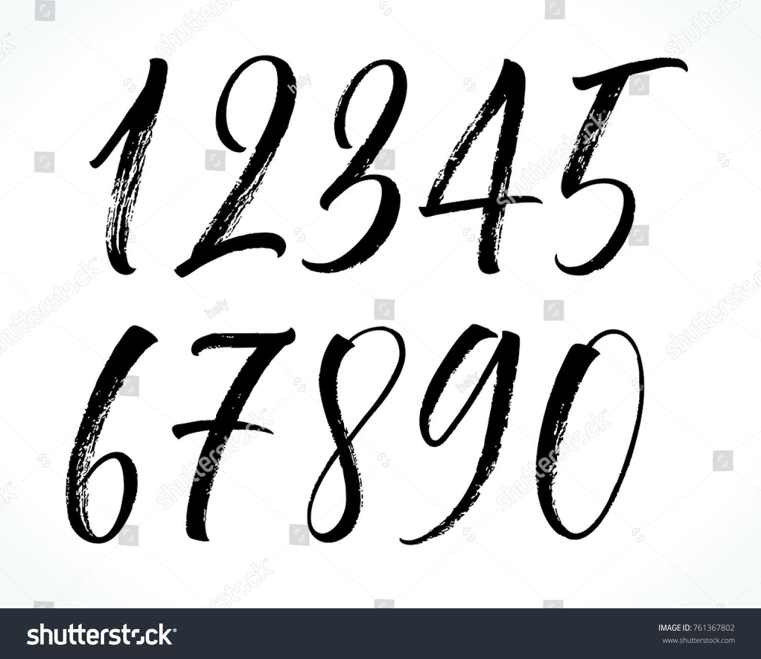 Brush Lettering Numbers Modern Calligraphy Handwritten Letters Vector Illustration Numbers Modern Brush Letter Brush Lettering Lettering Modern Calligraphy