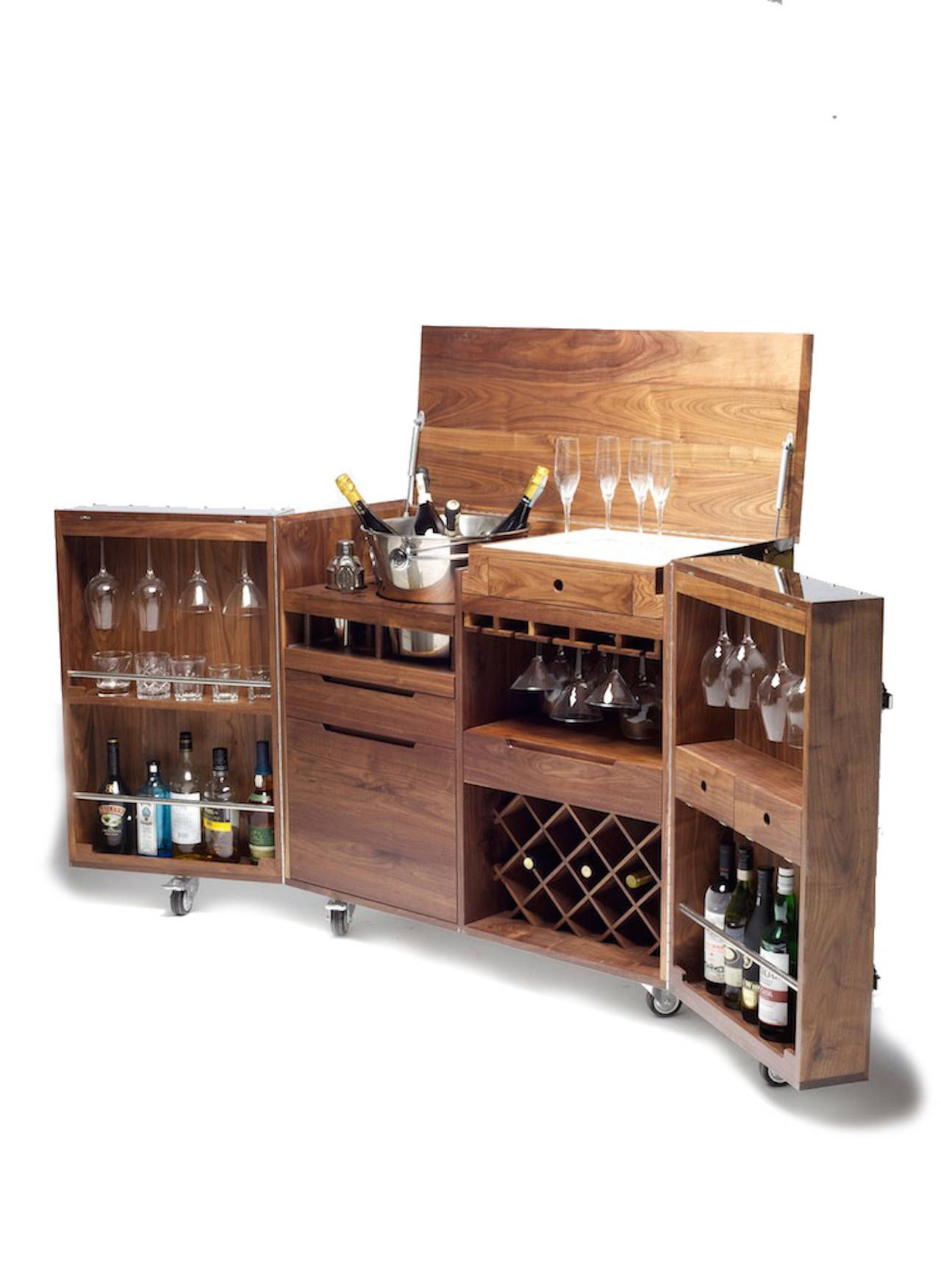 Mobile Bar From The Crates Stainless Steel Series By